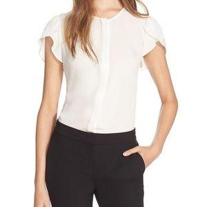 Diane von Furstenberg DVF Petal Sleeve Silk Top
